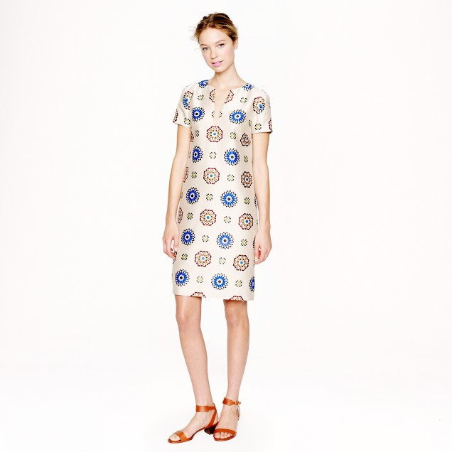 Collection wool-silk dress in tile medallion