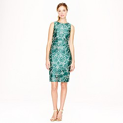 Collection silk shantung dress in photo lace