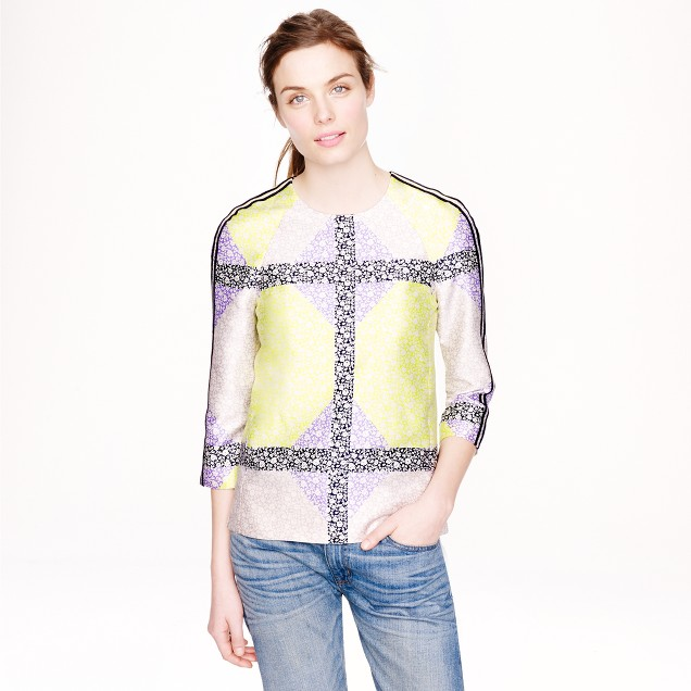 Collection windowpane floral seamed top