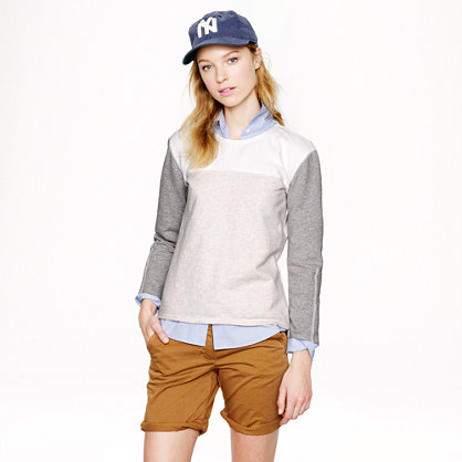 Back-zip colorblock sweatshirt