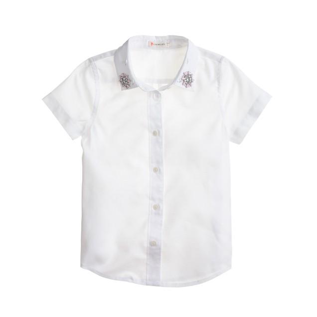 Girls' gem-embellished oxford shirt