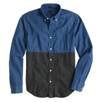 Lightweight denim shirt in indigo colorblock