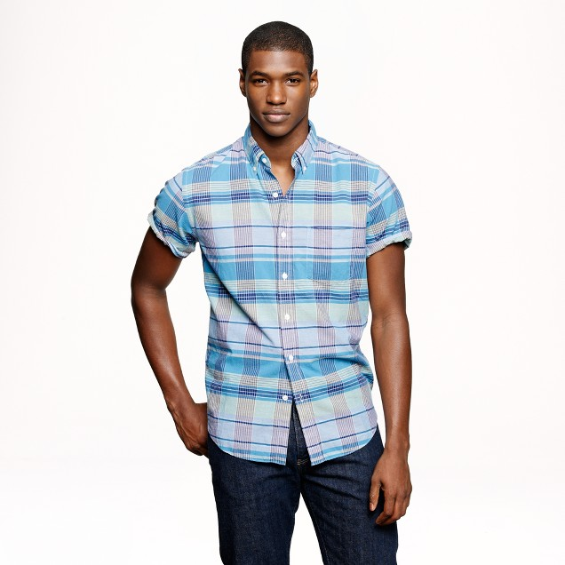 Indian cotton short-sleeve shirt in noble turquoise plaid