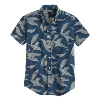 Cotton twill short-sleeve shirt in leaf print