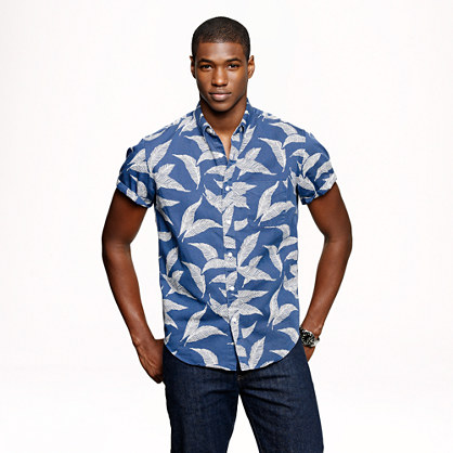 Cotton twill short-sleeve shirt in leaf print