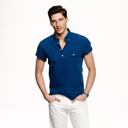 Short-sleeve popover in indigo-dyed cotton