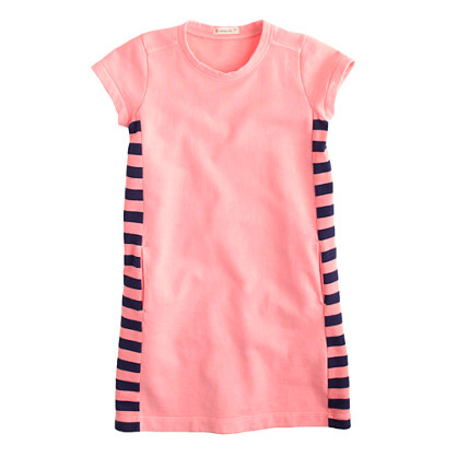 Girls' garment-dyed colorblock T-shirt dress