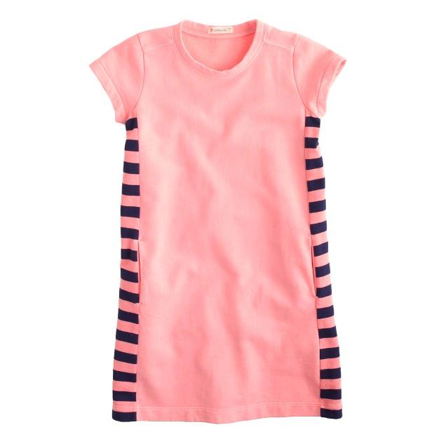 Girls' garment-dyed colorblock T-shirt dress