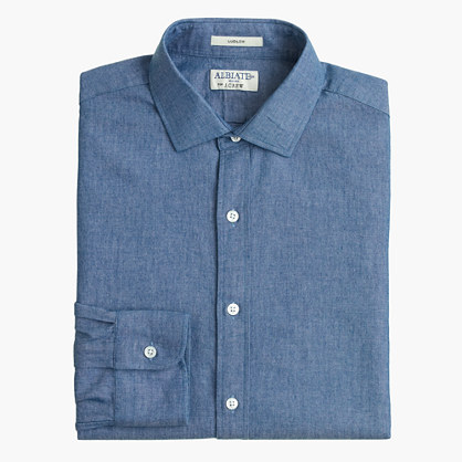 Albiate 1830 for J.Crew Ludlow spread-collar shirt in Italian chambray