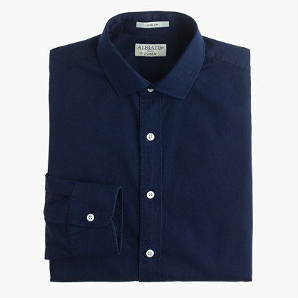 Albiate 1830 for J.Crew Ludlow spread-collar shirt in indigo Italian cotton