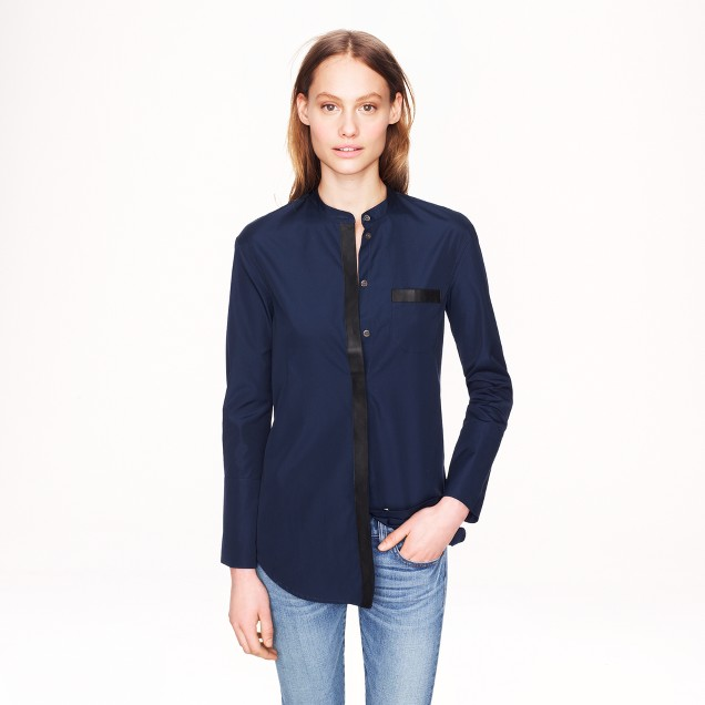 Collection Thomas Mason® for J.Crew leather-trim tunic in navy