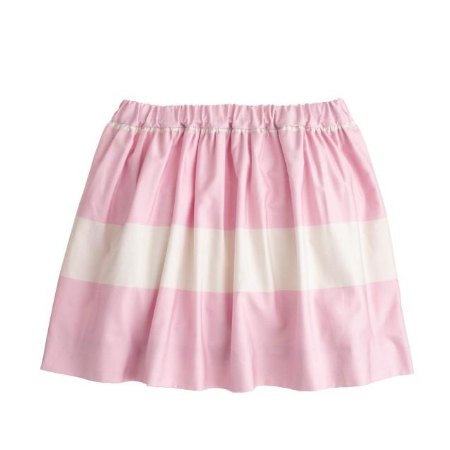 Girls' cotton sateen stripe skirt