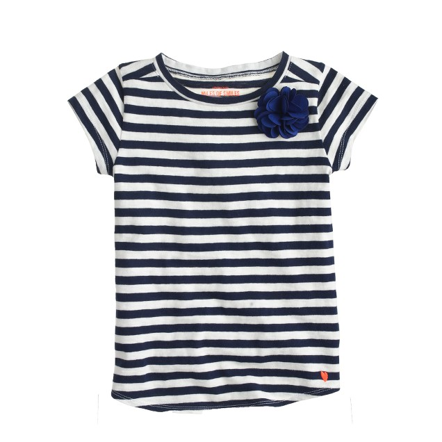 Girls' corsage T-shirt in blue stripe