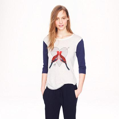 Linen baseball T-shirt in lovebirds