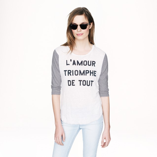 Linen baseball T-shirt in l'amour triomphe