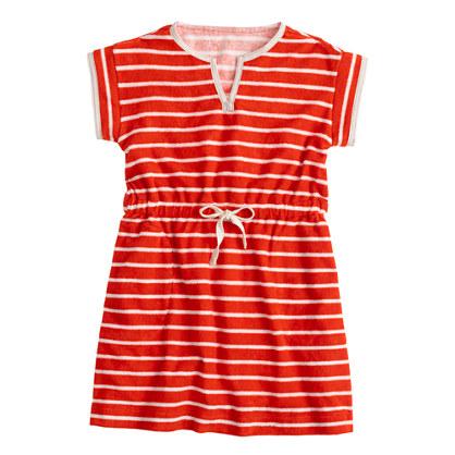 Girls' terry beach dress in stripe