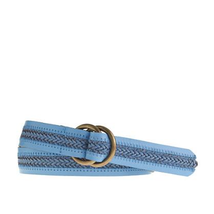 Braid-stripe leather belt
