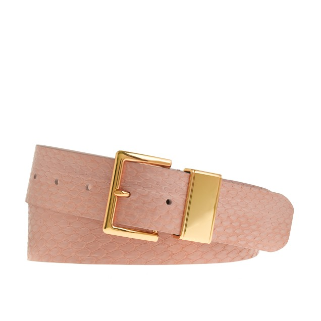 Golden-trim snakeskin belt