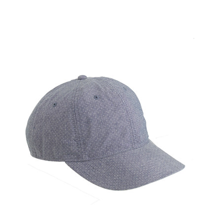 Printed dot chambray baseball cap