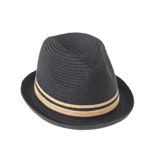 Kids' stripe trilby hat in navy