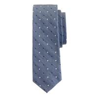 Italian silk-linen tie in bi-color dots