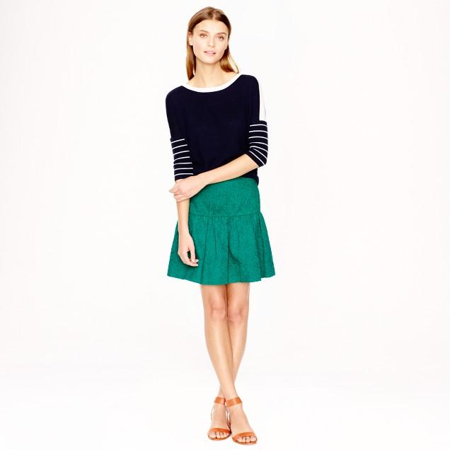 Matelassé drop-waist skirt