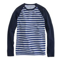Long-sleeve rash guard in porter blue stripe