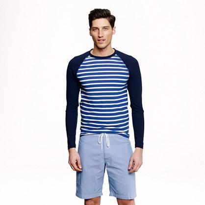 Long-sleeve rash guard in porter blue stripe