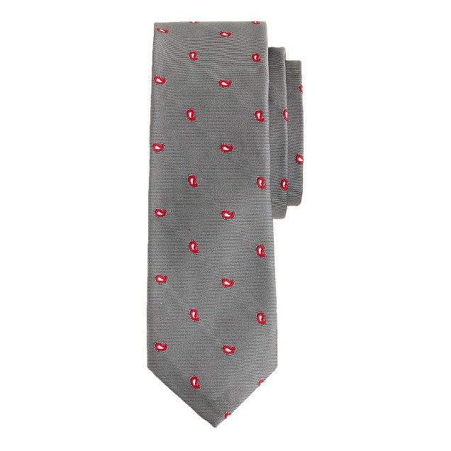 English silk tie in steel paisley