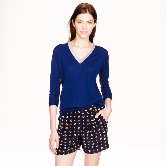 Lightweight merino wool contrast V-neck sweater