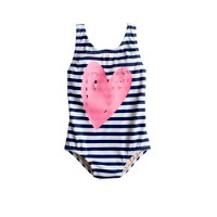 Baby one-piece swimsuit in stripe heart