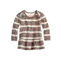 Baby long-sleeve ruffle shirt in floral stripe