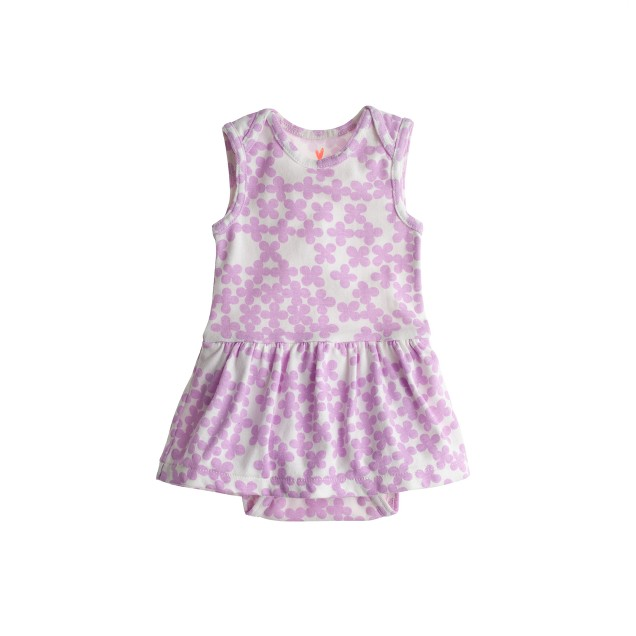 Baby skirted one-piece in clover print