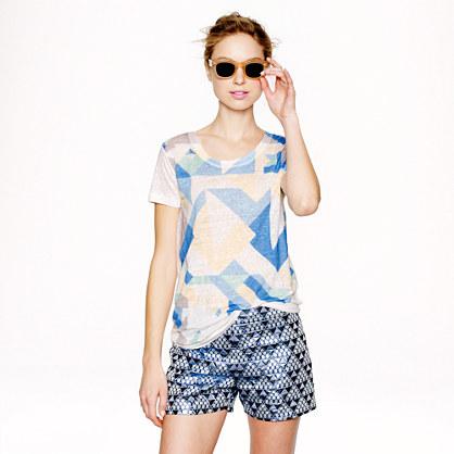 Linen Cubist print T-shirt