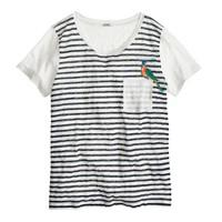 Linen embroidered bird T-shirt