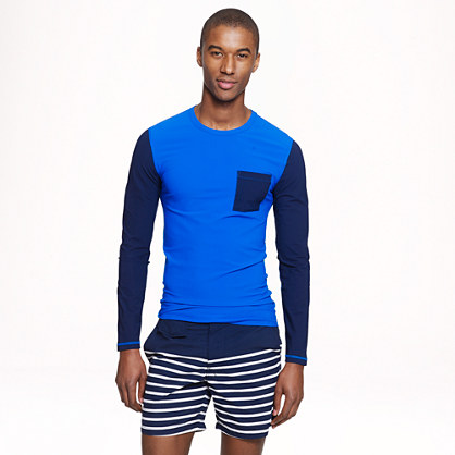 Long-sleeve pocket rash guard in colorblock
