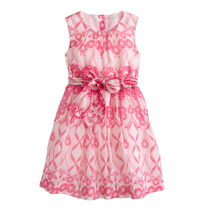 Girls' organdy dress in trellis floral