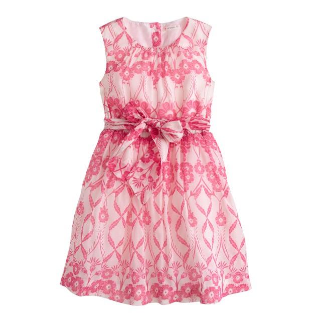 Girls' organdy dress in trellis floral