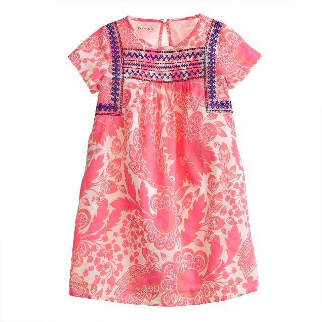 Girls' pink floral embroidered dress
