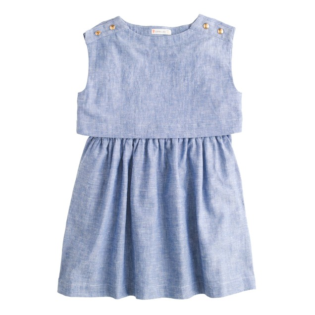 Girls' gold-button chambray dress
