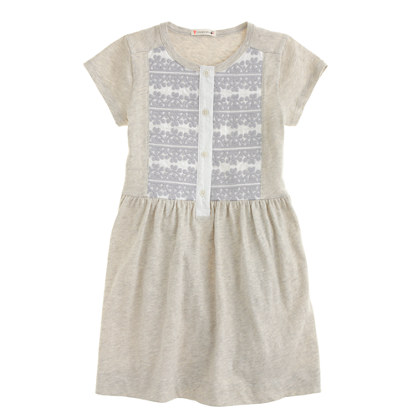 Girls' embroidered henley dress