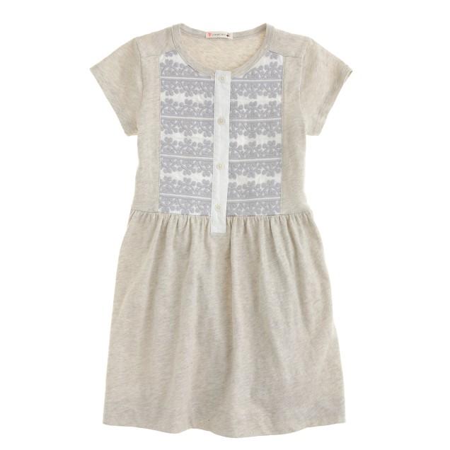 Girls' embroidered henley dress