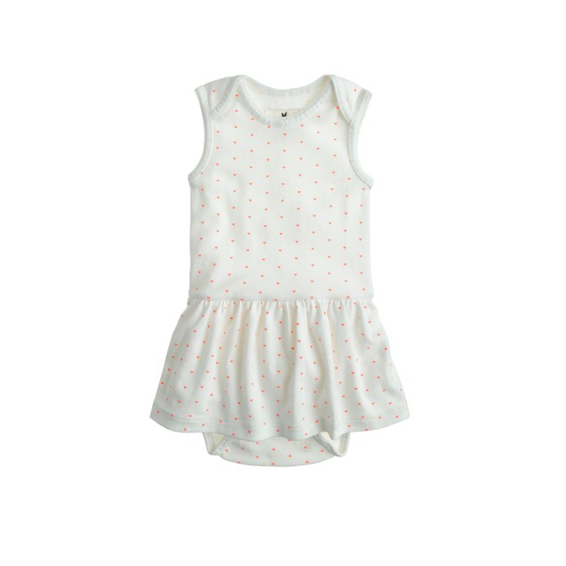 Baby skirted one-piece in pin hearts