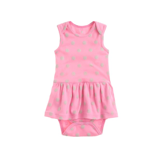 Baby skirted one-piece in polka-dot heart