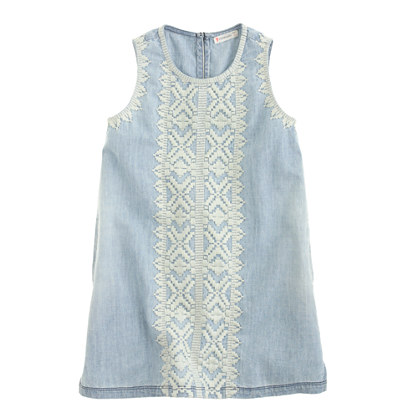 Girls' embroidered chambray dress