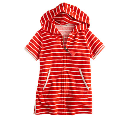 Girls' terry zip-up hoodie in stripe