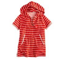 Girls' terry zip-up hoodie in stripe