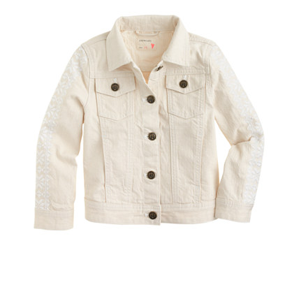 Girls' embroidered-sleeve denim jacket