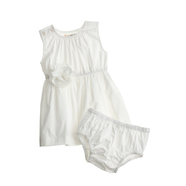 Baby dress and bloomers set in white