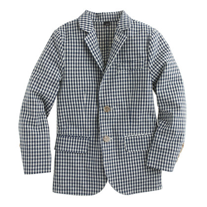 Boys' unconstructed Ludlow jacket in gingham